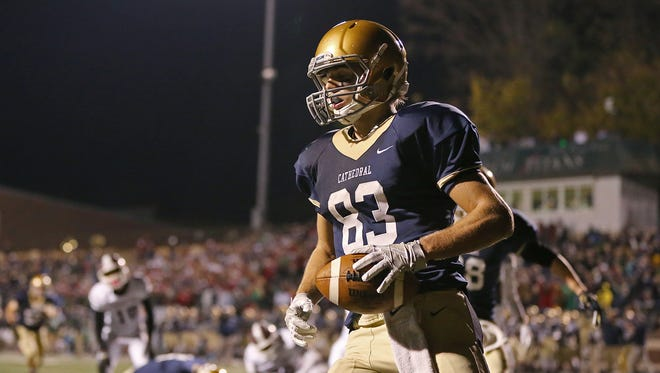 Cathedral's Luke Sanders scored the tying touchdown in the Irish's sectional win over Lawrence Central last Friday.