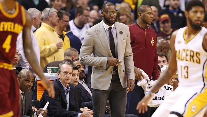 Cleveland Cavaliers forward LeBron James (23) was benched for the game against the Indiana Pacers at Banker's Life Fieldhouse, Indianapolis, Wednesday, November 16, 2016.