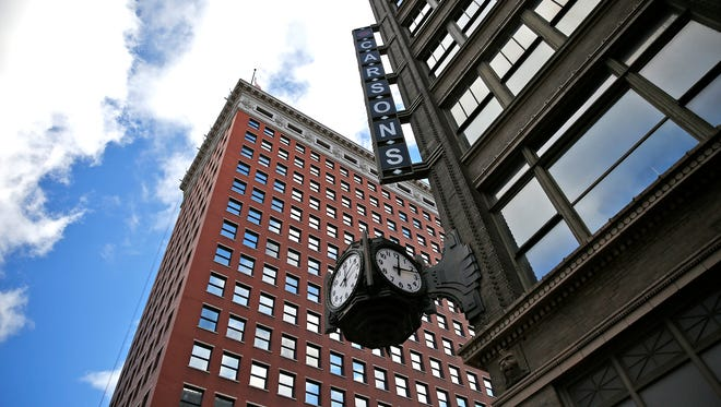 And it's off and running. The Ayres Clock, repaired after a fundraising campaign was ceremonially re-started, Sunday, Nov. 20, 2016. The four-faced clock is mounted on the old Ayres building at the southwest corner of Meridian and Washington street. All four clocks now run together, and the clock is lit from within.