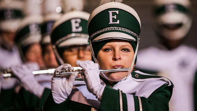 The Eastern Michigan Eagles marching band perform before their home game against Central Michigan Chippewas.