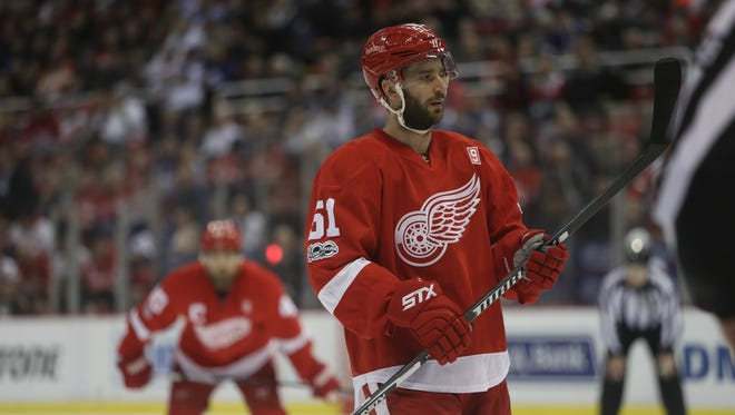 Detroit Red Wings center Frans Nielsen waits for a face off during first period action against the Toronto Maple Leafs on Wednesday, Jan. 25, 2017, at Joe Louis Arena in Detroit,