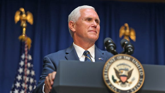 Vice President Pence speaks during the unveiling ceremony