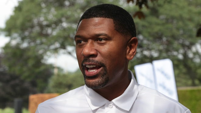 Former NBA player Jalen Rose speaks to press during the 7th Annual Jalen Rose Leadership Academy Celebrity Golf Classic at The Detroit Golf Club in Detroit on Monday, Aug. 28, 2017.