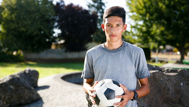 McKay High School soccer player Anthony Mota in McKay Park on Tuesday, Sept. 12, 2017.