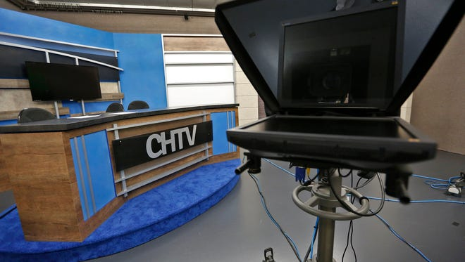 The set waits for its next show taping for the CHTV Channel 21 tv station at Carmel High School, Wednesday, Sept. 20, 2017.