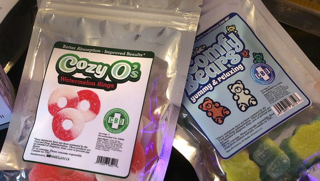 These are some of the CBD products for sale at Hoosier Vapor in Plainfield, seen Thursday, Nov. 30, 2017, gummies.