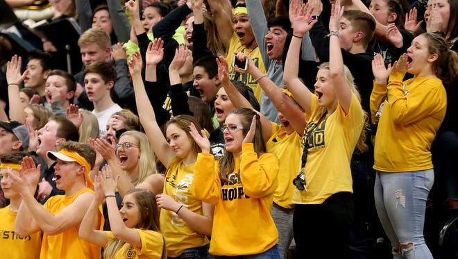 Cascade fans cheer in the first half of the Stayton vs. Cascade boys basketball game at Cascade High School in Turner on Friday, Feb. 9, 2018. Cascade won the game 52-44.