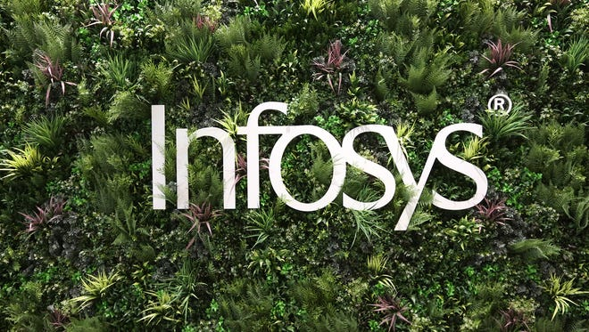 Plants surround the Infosys signage at the entrance to the Infosys tech and innovation hub, Tuesday, Mar. 6, 2018.