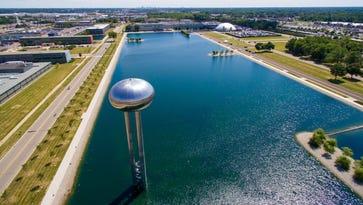 An aerial view of the General Motors Tech Center in Warren.