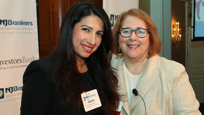 From left, Amita Dass of Global Bankers Institute and Linda Eagle, co-founding president of Global Bankers Institute, before Eagle's presentation on communication at the New Jersey Bankers Association's Women in Banking Conference on April 22 at The Palace at Somerset Park in the Somerset section of Franklin.