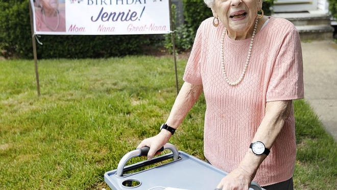 Jennie Morreale of Quincy turns 99, her family came out to celebrate on the front lawn with her on Tuesday June 9, 2020 Greg Derr/The Patriot Ledger