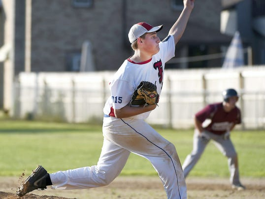 Fredericksburg's  Zach Seltzer pitched a complete game against Newmanstown in the county title-clinching 10-5 win.