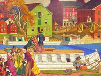 A mural depicting Historic Roscoe Village, created in 1968, is on display at Chase Bank on South Fourth Street in Coshocton.