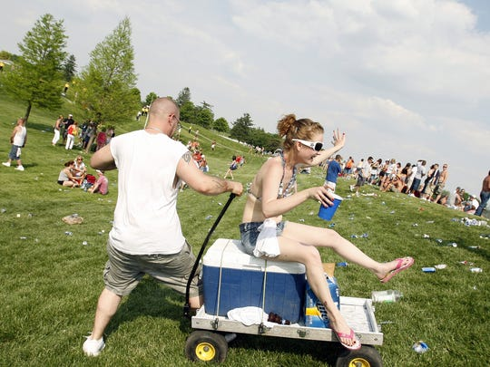 Jason Walker of Lebanon gives Jessica Simpson of Indy a ride down an infield hill after the concert. Carb Day activities at the Indianapolis Motor Speedway on Friday, May 22, 2009 include an hour of final practice for the drivers, the pit-stop challenge and the band 3 Doors Down.