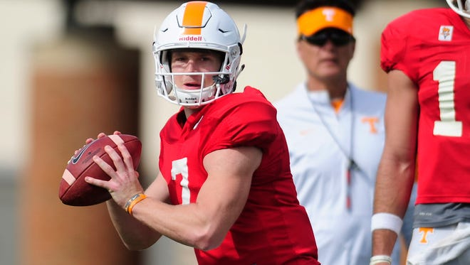 Tennessee's Will McBride (7) looks to pass during Tennessee Volunteers spring football training at Anderson Training Facility in Knoxville, Tennessee on Thursday, March 30, 2017.