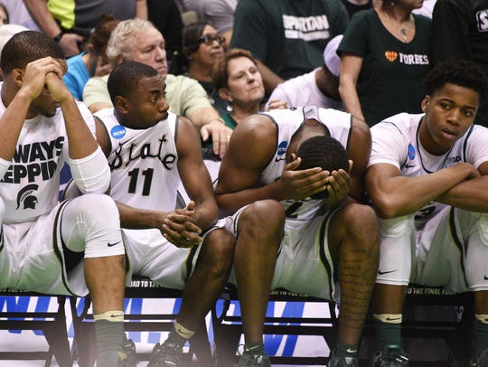 The Michigan State bench can't believe the end of Friday's