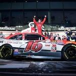 Ryan Reed celebrates in Victory Lane after winning the NASCAR Xfinity Series race Saturday in Daytona Beach, Fla.