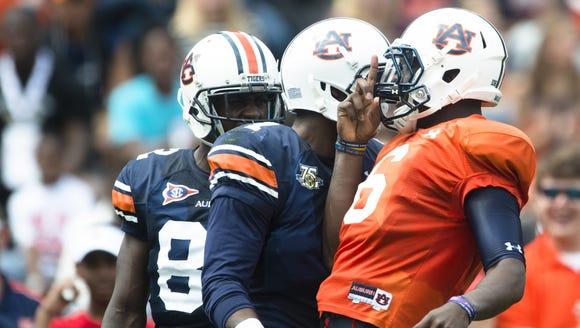 Auburn quarterback Jeremy Johnson celebrates with wide