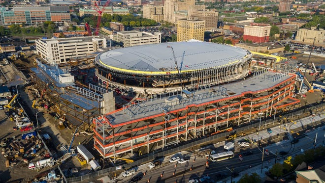 Among the bright spots in Michigan's November 2016 employment report? Construction. Jobs in the sector recorded gains for the last two months. Since September, construction jobs have risen by around 8,000.  Over the year, construction jobs have displayed the highest percentage gain - up 6% - of any major sector in the state. Pictured here: Little Caesars Arena construction in Detroit in October 2016.