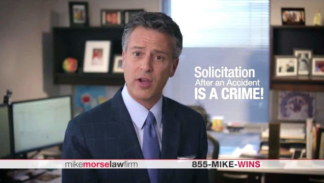 A recent TV commercial by lawyer Mike Morse warned viewers about people who illegally solicit accident victims.