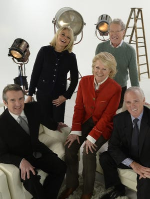"The cast of CBS' ""Murphy Brown"" reunited in 2013 on the 25th anniversary of the TV-newsroom comedy: Candice Bergen, center, with Grant Shaud, left, Faith Ford, Charles Kimbrough and Joe Regalbuto."