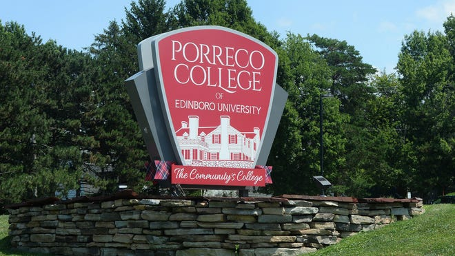 A sign welcomes guests to Edinboro University's Porreco College in Millcreek Township on Aug. 1, 2019.