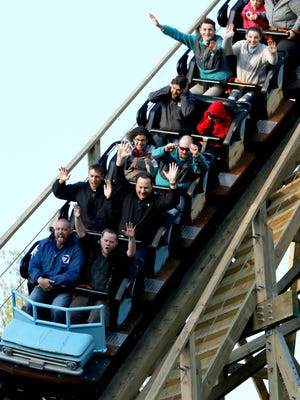 Roller coaster enthusiasts and members of the media ride Kings Island's new wooden roller coaster, Mystic Timbers Thursday April 13, 2017. The roller coaster's theme is  an abandoned lumber company with  3,265-foot-long track at 53 mph. The ride was designed and built by Pennsylvania-based Great Coasters International, Inc. Kings Island opens to the public on Saturday.