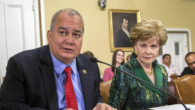 Gregorio Kilili Camacho Sablan, left, the Northern Marianas delegate to Congress, is shown in this file photo with Guam Del. Madeleine Bordallo.