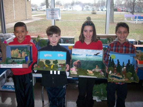 Holly Andersen and Miss Prakapas' third grade classes at School No. 9 in Linden recently completed a diorama project on biomes. Students created a diorama, completed a written report, and presented what they learned to their class. The project focused on how we as humans interact with the planet and how climate affects the land, plants, and animals. Students showing their biome dioramas are, from left to right, Caleb Calderon, Alessandro Principato, Alivia Figueiredo, and Ethan Da Costa.