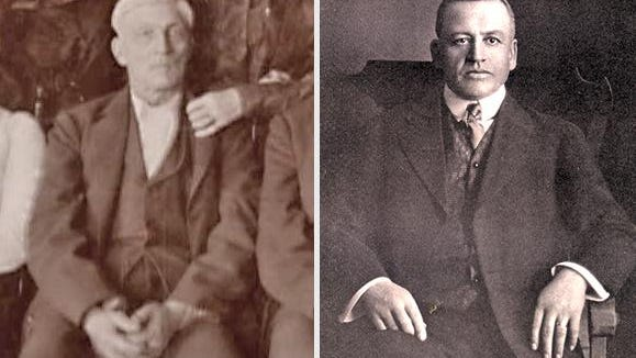The builder of Woodbine, James H. Woods (left) and his son William H. Woods, the longtime president of Illinois Bankers Life Assurance Co.