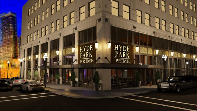 A rendering shows how Hyde Park Prime Steakhouse will look when it opens on the Illinois Building's first floor.