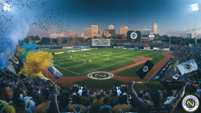 A main-bowl view of Nashville Soccer Club's plans for First Tennessee Park, home of the Nashville Sounds, where the soccer team will play its inaugural season's home games in 2018