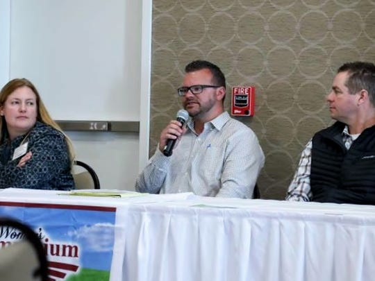 Producer Panel, from left: Erica Burke (Hillside Orchards), Matt Schilling (Greg Orchards & Produce), and Trever Meachum (High Acres Fruit Farm).