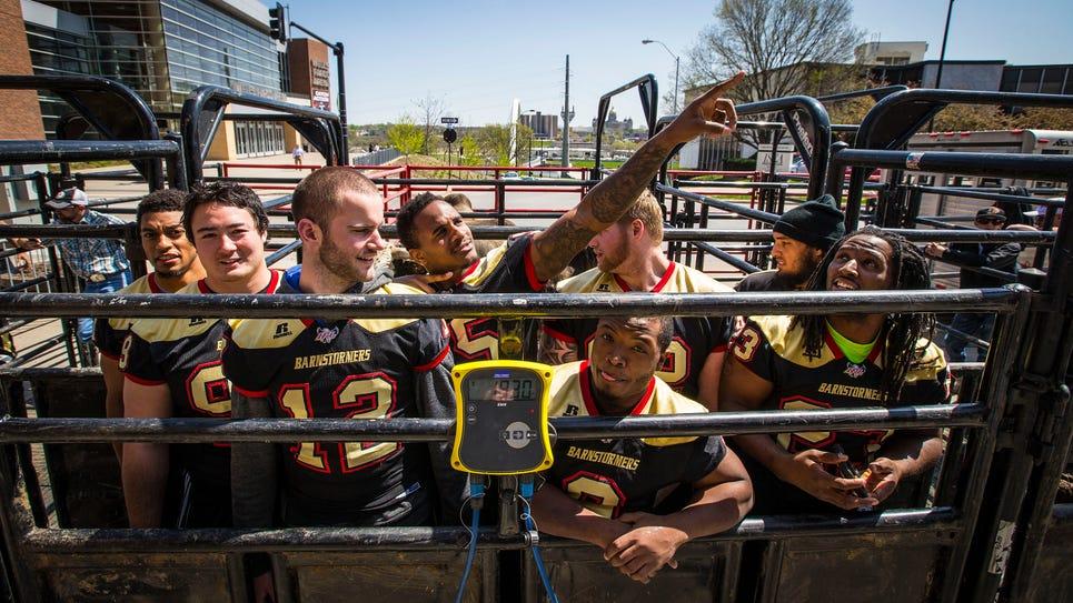 Members of the Iowa Barnstormers football team are