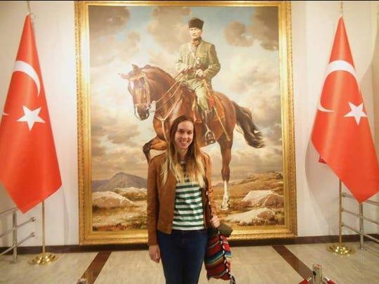 Amanda Rewerts, from Nevada, inside the Atatürk Muesum