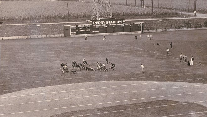 Perry Stadium, normally used for baseball, was painted to accommodate a football game in 1933.