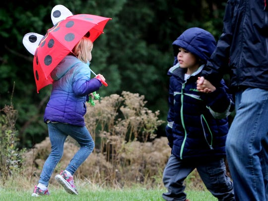 A ladybug heads off to be part of a guided hike through the woods during the first Retzer Nature Center Science Fest on Nov. 4.