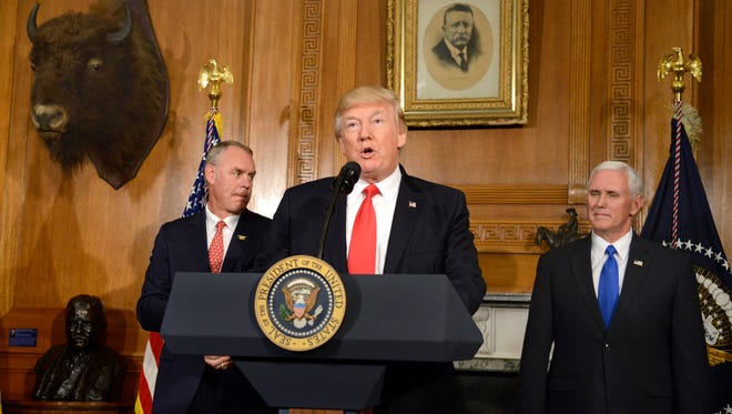 President Trump, Vice President Mike Pence and Interior Secretary Ryan Zinke on April 26, 2017.