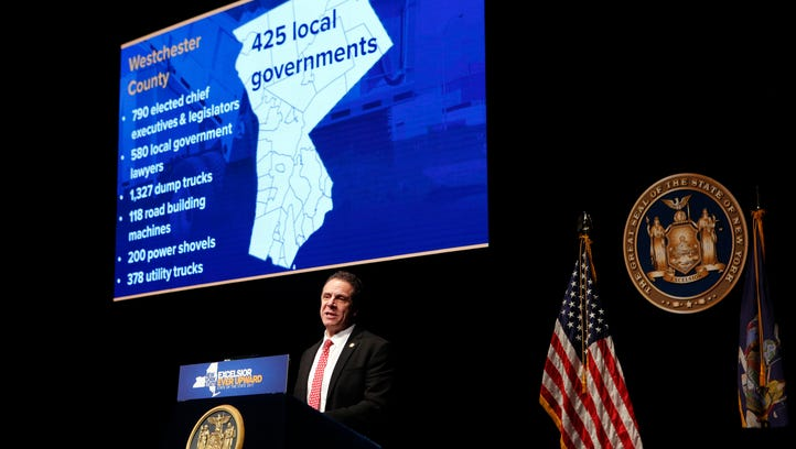 Governor Andrew Cuomo delivers the State of the State Address in the Mid-Hudson Region at SUNY Purchase Performing Arts Center, Jan. 10, 2017. In this slide, he contends Westchester has 425 local governments -- though they dispute the figure.