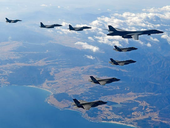 South Korea and U.S. fighter jets fly over the Korean