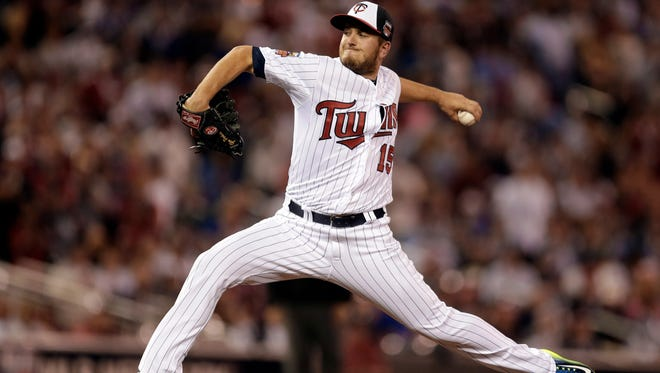 Minnesota Twins closer Glen Perkins throws for the American League in the ninth inning of the MLB All-Star game Tuesday in Minneapolis.