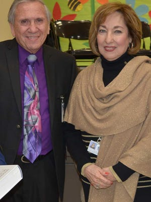 Gadsden Independent School District retiring Superintendent Efren Yturralde, left, poses at a recent event with Susie Yturralde, right, who was named the district's interim superintendent effective June 30. Susie is Efren's sister-in-law.