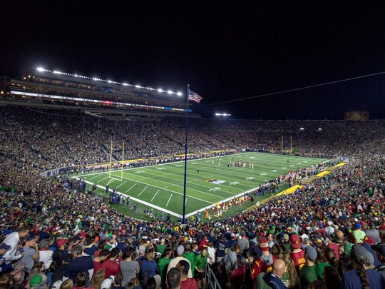 A general view of Notre Dame Stadium during the first quarter of the game between the Notre Dame Fighting Irish and the USC Trojans.