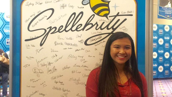 Samantha Academia, from Yorktown Middle School, poses at the 2016 Scripps National Spelling Bee in Washington D.C. Academia is one of 274 competitors after winning the regional bee in March.
