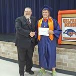 Principal Todd Jones (left) and recent Colfax-Mingo graduate Garrett Chapman.