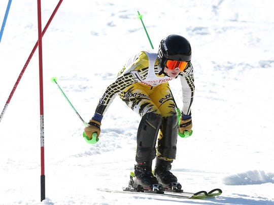 North Salem/John Jay (CR) John Emerson  competes in the Section 1 skiing championships at Hunter Mountain Feb. 14, 2018.