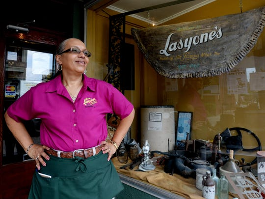 Louisiana Restaurant Legend Award winner Marilyn Demars at Lasyone's famous Meat Pies & Crawfish Pies, where she is head waitress and cashier.