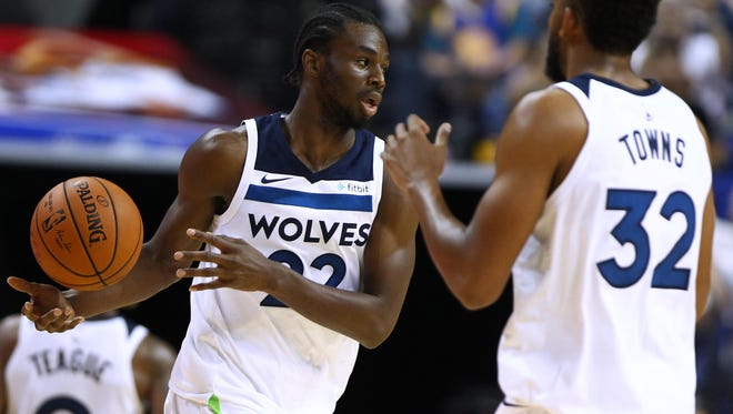 Andrew Wiggins #22 of the Minnesota Timberwolves in action during the game between the Minnesota Timberwolves and the Golden State Warriors as part of 2017 NBA Global Games China at Mercedes-Benz Arena on October 8, 2017 in Shanghai, China.