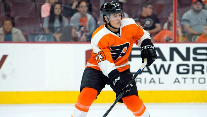 Flyers winger Nicolas Aube-Kubel plays in a September 2014 game against the Washington Capitals at Wells Fargo Center.
