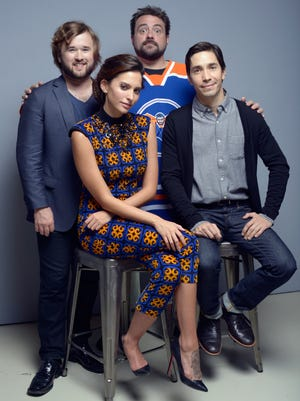 "Haley Joel Osment, Genesis Rodriguez, director Kevin Smith and Justin Long of ""Tusk"" pose for a portrait during the 2014 Toronto International Film Festival."